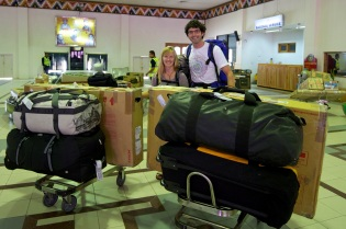 Arriving in Paro with a lot of baggage!