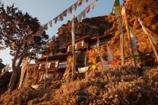 Bumdra meditation center soaking up the sunrise
