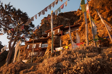 Bumdra meditation center soaking up the sunrise