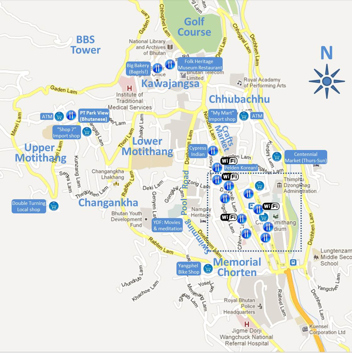 Thimphu Map bhutan chronicles